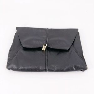 Vintage 80's Black Leather Made In Italy Clutch